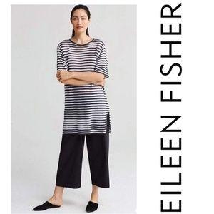 Eileen Fisher Organic Linen Knit Stripe Tunic Sz M